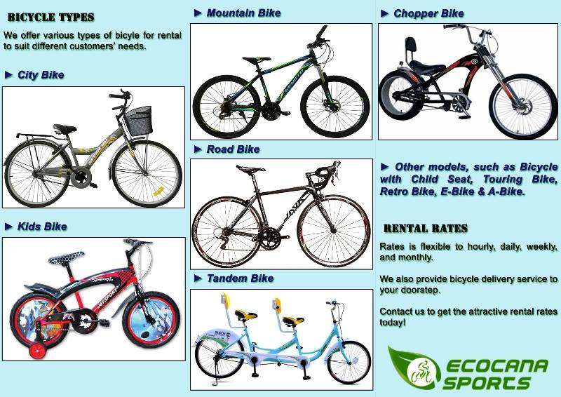 Types Of Bicycles >> Types Of Bicycles Available Ecocana Sports Bicycle Rental